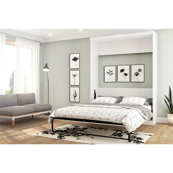 Bestar Nebula White Queen Murphy Bed