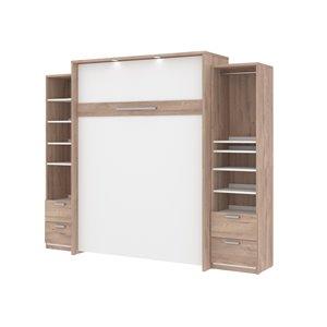Grand lit escamotable Cielo blanc et brun rustique de Bestar avec rangement intégré