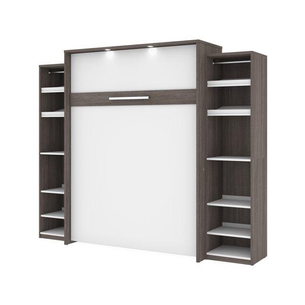 Grand lit escamotable Cielo de Bestar, rangement intégré, gris écorce et blanc