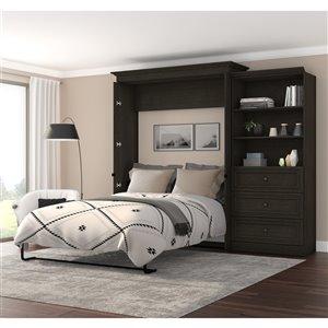 Grand lit escamotable gris Versatile de Bestar avec rangement intégré