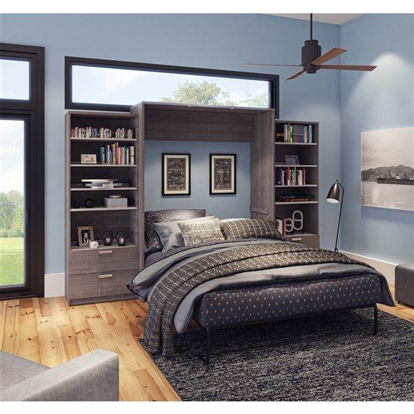 Grand lit escamotable Cielo de Bestar, blanc et gris écorce, rangement intégré