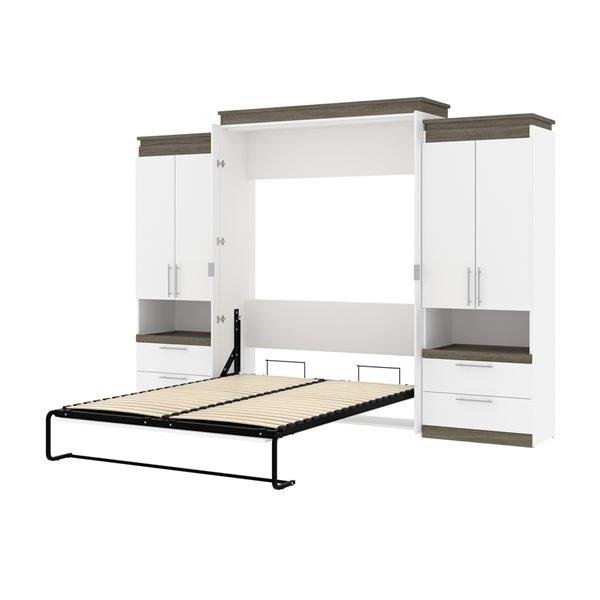 Grand lit escamotable Orion de Bestar et rangement intégré, blanc et gris noisette