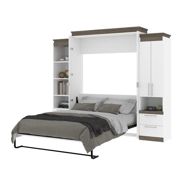 Grand lit escamotable Orion de Bestar et rangement intégré gris noisette et blanc