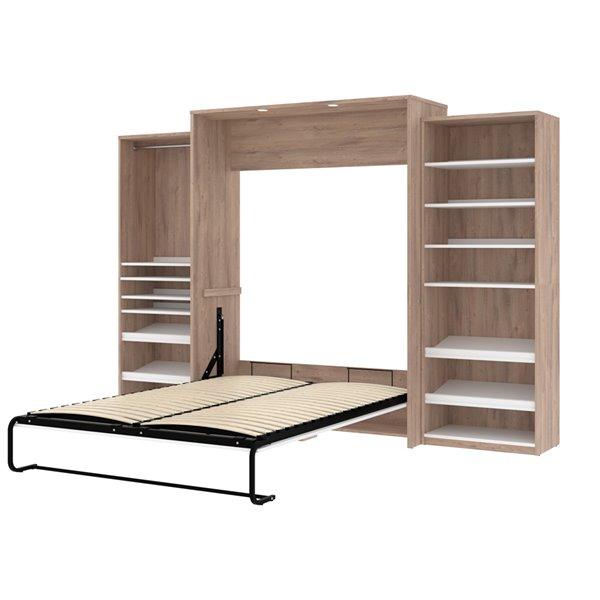 Grand lit escamotable Cielo de Bestar, blanc et brun rustique, rangement intégré