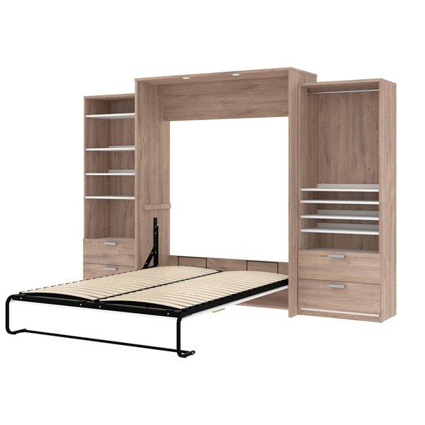 Grand lit escamotable Cielo de Bestar, rangement intégré (brun rustique et blanc)