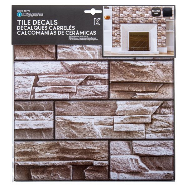 Décalque mural auto-adhésif effet de pierre géométrique brun par Truu Design, 11,8 po x 11,8 po