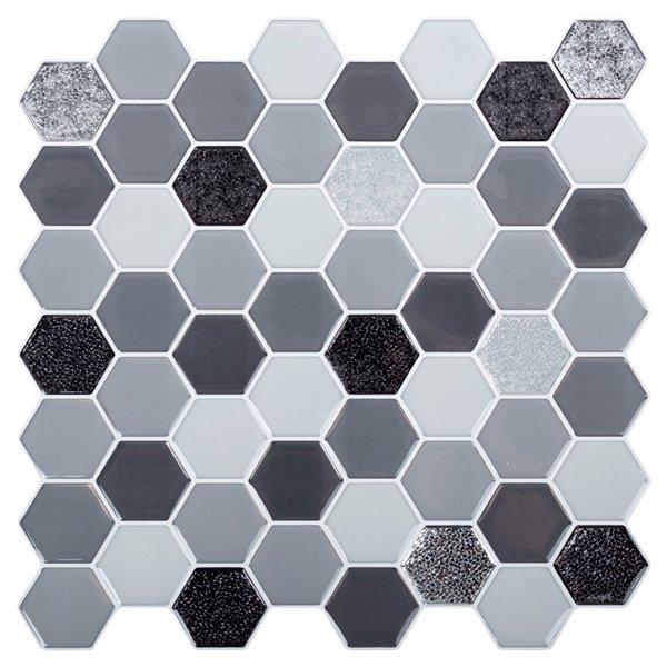 Décalque mural auto-adhésif géométrique gris et noir par Truu Design, 10 po x 10 po
