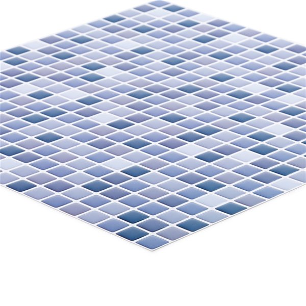 Décalque mural auto-adhésif géométrique bleu et blanc par Truu Design, 10 po x 10 po