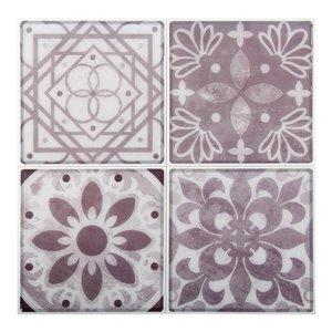 Décalque mural auto-adhésif géométrique mauve et blanc par Truu Design, 10 po x 10 po