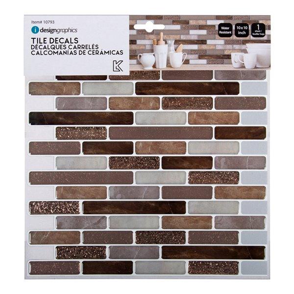 Décalque mural auto-adhésif géométrique cuivre/brun par Truu Design, 10 po x 10 po