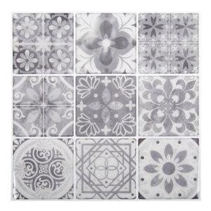 Décalque mural auto-adhésif géométrique gris et blanc par Truu Design, 10 po x 10 po