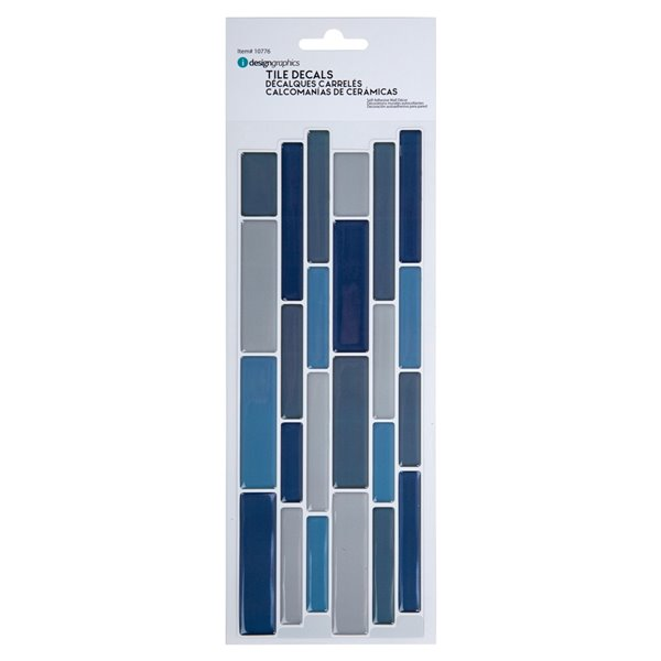 Décalque mural auto-adhésif géométrique bleu par Truu Design, 10 po x 3,94 po