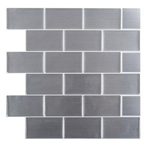 Décalque mural auto-adhésif géométrique gris acier inoxydable par Truu Design, 10 po x 10 po