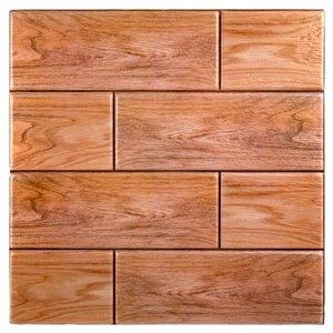 Décalque mural auto-adhésif effet bois brun par Truu Design, 11,8 po x 11,8 po