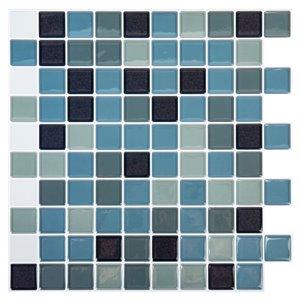 Décalque mural auto-adhésif carré géométrique bleu par Truu Design, 10 po x 10 po