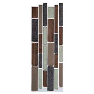 Décalque mural auto-adhésif géométrique brun par Truu Design, 10 po x 3,94 po