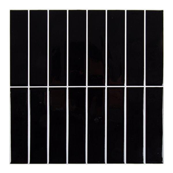 Décalque mural auto-adhésif géométrique vertical noir par Truu Design, 10 po x 10 po