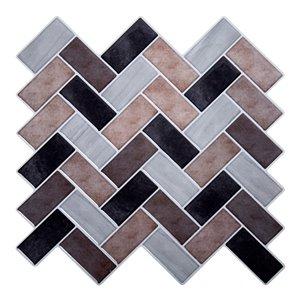 Décalque mural auto-adhésif géométrique brun et noir par Truu Design, 10 po x 10 po