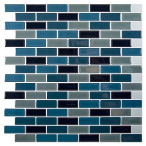 Décalque mural auto-adhésif géométrique bleu et noir par Truu Design, 10 po x 10 po