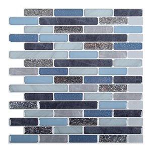 Décalque mural auto-adhésif géométrique bleu par Truu Design, 10 po x 10 po