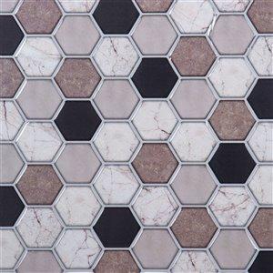 Décalque mural auto-adhésif hexagone géométrique brun par Truu Design, 10 po x 10 po