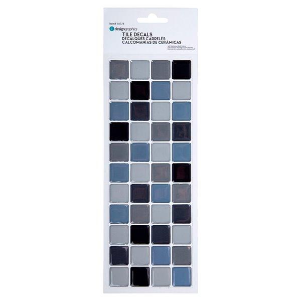 Décalque mural auto-adhésif géométrique bleu et noir par Truu Design, 10 po x 3,94 po