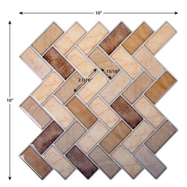 Décalque mural auto-adhésif chevron géométrique cuivré par Truu Design, 10 po x 10 po