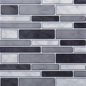 Décalque mural auto-adhésif géométrique noir et gris par Truu Design, 10 po x 10 po
