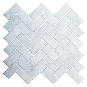 Décalque mural auto-adhésif chevron géométrique blanc marbre par Truu Design, 10 po x 10 po