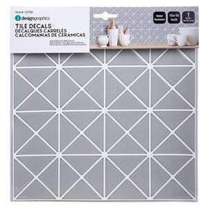 Décalque mural auto-adhésif géométrique gris argenté et blanc par Truu Design, 10 po x 10 po