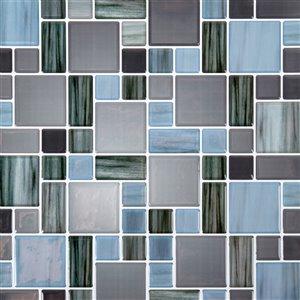 Décalque mural auto-adhésif géométrique bleu et argent par Truu Design, 10 po x 10 po