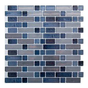 Décalque mural auto-adhésif géométrique bleu et gris par Truu Design, 10 po x 10 po