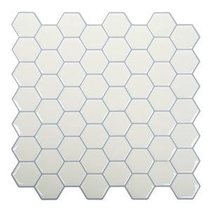 Décalque mural auto-adhésif hexagone géométrique blanc par Truu Design, 10 po x 10 po