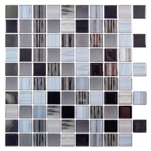 Décalque mural auto-adhésif géométrique noir et gris pâle par Truu Design, 10 po x 10 po