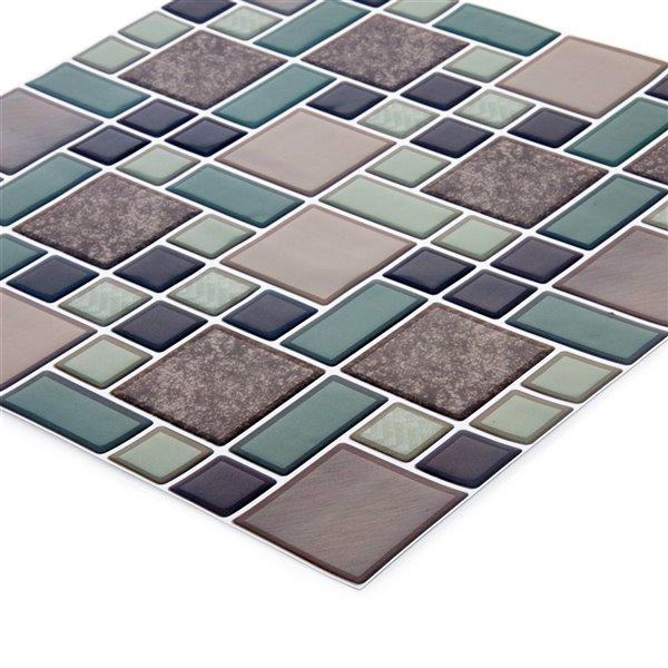 Décalque mural auto-adhésif géométrique gris par Truu Design, 10 po x 10 po