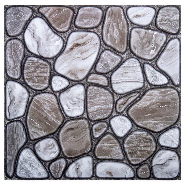 Décalque mural auto-adhésif effet pierre géométrique gris par Truu Design, 11,8 po x 11,8 po