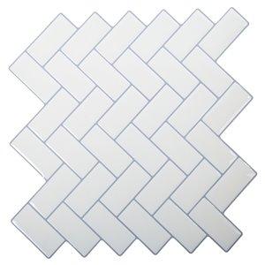 Décalque mural auto-adhésif chevron géométrique blanc par Truu Design, 10 po x 10 po
