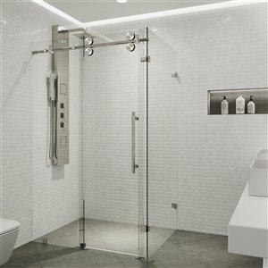 Porte de douche Winslow de VIGO sans cadre et coulissante, 74 po x 34,63 à 46,5 po, acier inoxydable (verre clair)
