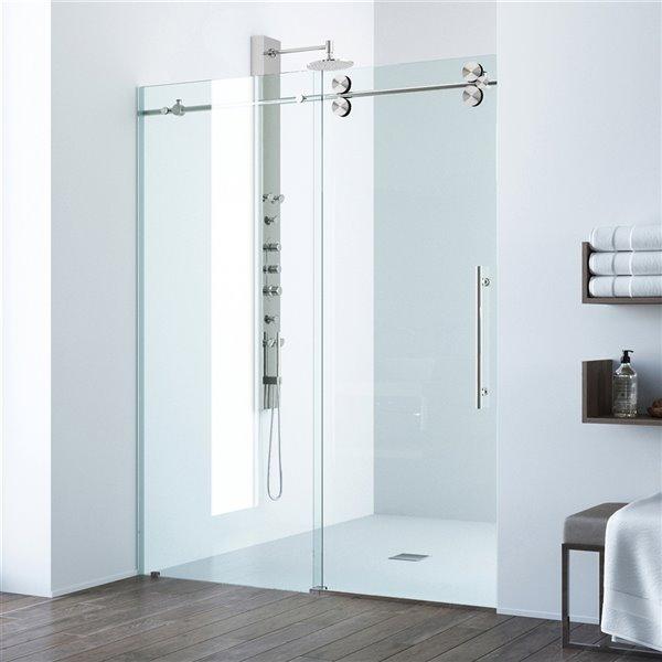 Porte de douche Elan de VIGO sans cadre et coulissante, 74 po x 56 à 60 po, acier inoxydable (verre clair)