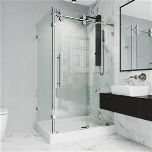 Porte de douche Winslow de VIGO sans cadre et coulissante, 79,38 po x 36,13 à 48,13 po, acier inoxydable (verre clair)