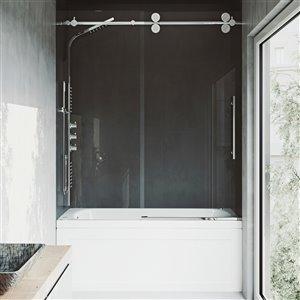 Porte de baignoire Elan de VIGO sans cadre et coulissante, 66 po x 56 à 60 po, chrome (verre clair)