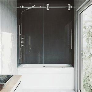 Porte de baignoire Elan de VIGO sans cadre et coulissante, 66 po x 56 à 60 po, acier inoxydable (verre clair)