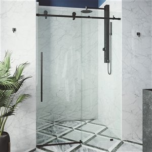Porte de douche Elan de VIGO sans cadre et coulissante, 76 po x 56 à 60 po, noir mat (verre clair)