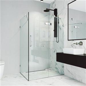 Porte de douche Monteray de VIGO à charnière sans cadre de 73,38 po x 34,13-46 po, chrome (verre clair)