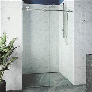 Porte de douche Elan de VIGO sans cadre et coulissante, 76 po x 68 à 72 po, acier inoxydable (verre clair)