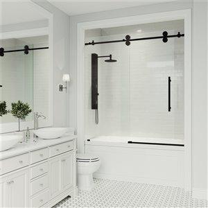 Porte de baignoire Elan de VIGO sans cadre et coulissante, 65,5 po x 60 po, noir mat (verre clair)