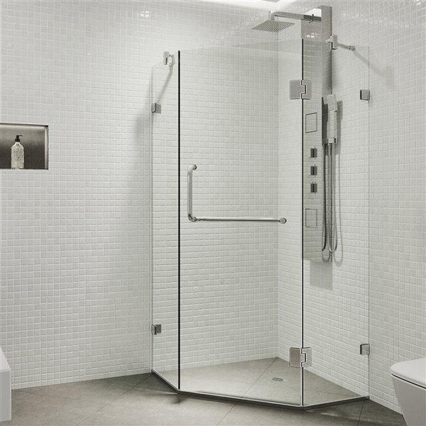 Porte de douche Piedmont de VIGO à charnière sans cadre de 73,38 po x 34,14 po, chrome (verre clair)