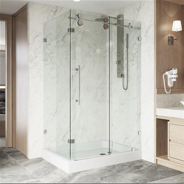 Porte de douche Winslow de VIGO sans cadre et coulissante, 79,38 po x 36,13 à 48,13 po, chrome (verre clair)