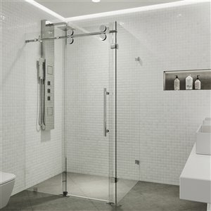 Porte de douche Winslow de VIGO sans cadre et coulissante, 74 po x 34,63 à 46,5 po, chrome (verre clair)