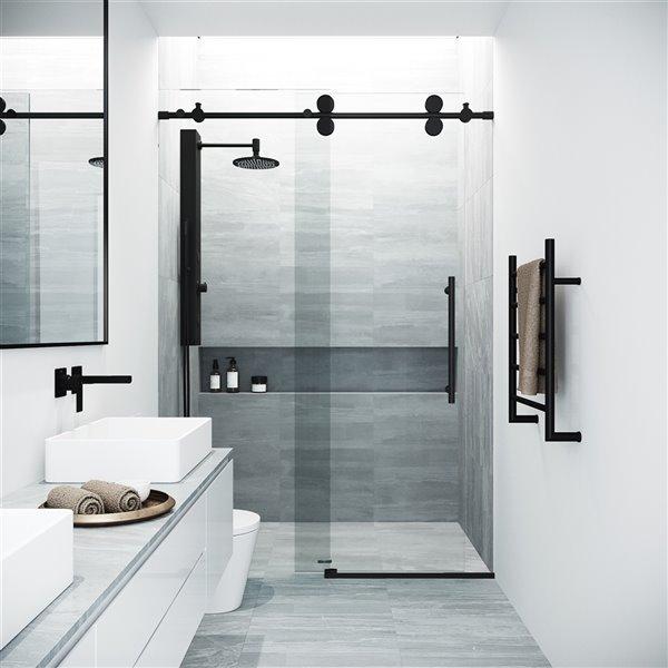 Porte de douche Elan de VIGO sans cadre et coulissante, 73,5 po x 52 à 56 po, noir mat (verre clair)